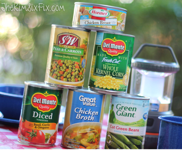 Canned soup veggies