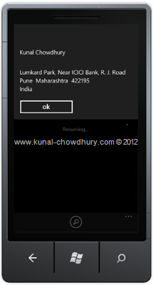 Image 2: How to Retrieve Contact Information in WP7 using the AddressChooserTask?