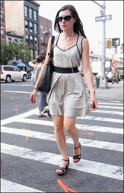 w short sleeveless light grey dress black piping-belt ol