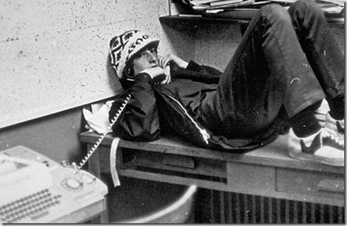 Future billionaire computer wiz Bill Gates reclining on desktop & talking on phone while attending private Lakeside School.<br /><br />Filing Place: <br />TC 104378<br />Subject Date: <br />0/0/1973<br />Last Published: <br />January 25, 1999<br />Series: <br />TIME<br />Title: <br /><br />Caption: <br />Future billionaire computer wiz Bill Gates reclining on desktop & talking on phone while attending private Lakeside School.<br />City: <br />SEATTLE<br />State/Province: <br />WA<br />Country: <br />US<br />Photographer: <br /><br />Photog Status: <br />FREELANCE<br />Agency: <br />LAKESIDE SCHOOL<br />Syndication By: <br />AGENCY<br />Subjects: <br /><br />Personalities: <br />GATES, WILLIAM H. III<br />Source: <br />TIME<br />Ref No: <br />05586784.JPG<br />Medium: <br />B/W TRANSPARENCY<br /><br />