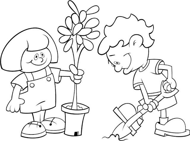 Los Niños Y El Medio Ambiente Para Colorear