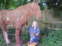 Sculptor Sophie Howard is making the life-size model of a horse out of manure.