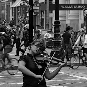 Street Symphony by Francisco Little - City,  Street & Park  Street Scenes ( violin, san francisco music, busker, sreet,  )