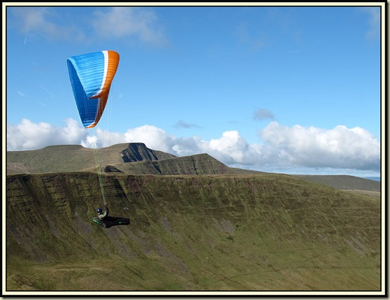 A paraglider in the Brecon Beacons - 6 October 2013