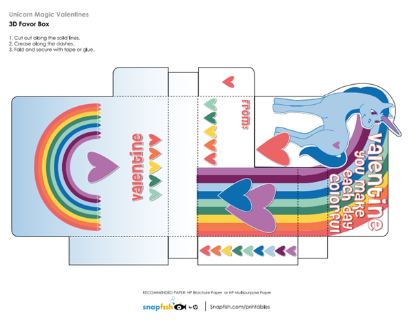 Caja 3D unicornio en pdf para descargar gratis