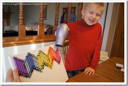 use a blow dryer to melt crayons so they drip