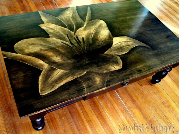 Using Wood Stain to create one-of-a-kind artwork on furniture {Sawdust and Embryos}