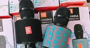 MIC KARAOKE CHARGE V8- Có Cổng USB Và Thẻ Nhớ - ÂM THANH CỰC HAY