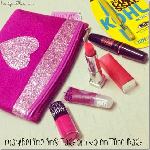 Maybelline InstaGlam Bag Review: Valentine Edition; Colossal Kohl in Turquoise, HyperCurl Mascara, Bold Matte Lipstick, Color Show Nail Paint, Fruit Jelly Lipgloss