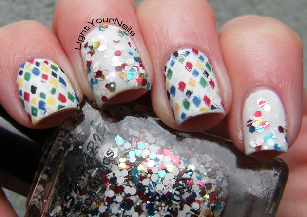 Nyx Matte White + Easy Paris glitter #18 + Harlequin stamping decals