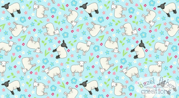 Ditsy Sheep spoonflower contest surface pattern fabric design hazel fisher creations