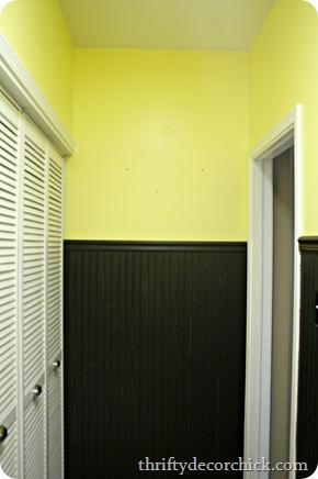 yellow and black mud room