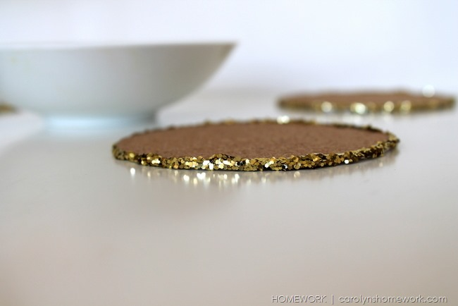 Cork & Gold Glitter Coasters with Lifestyles Crafts via homework | carolynshomework.com