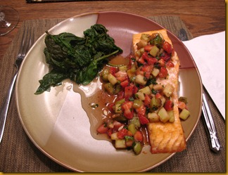 Salmon with Spinach and Strawberry Salsa July 2011 Craig