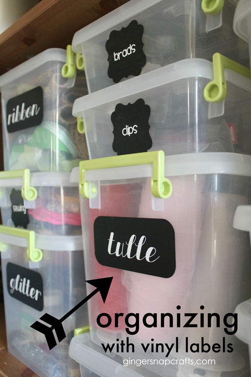 Organizing with Vinyl Labels at GingerSnapCrafts.com #organizing