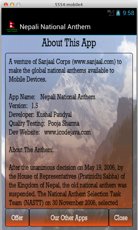 Nepali National Anthem- screenshot