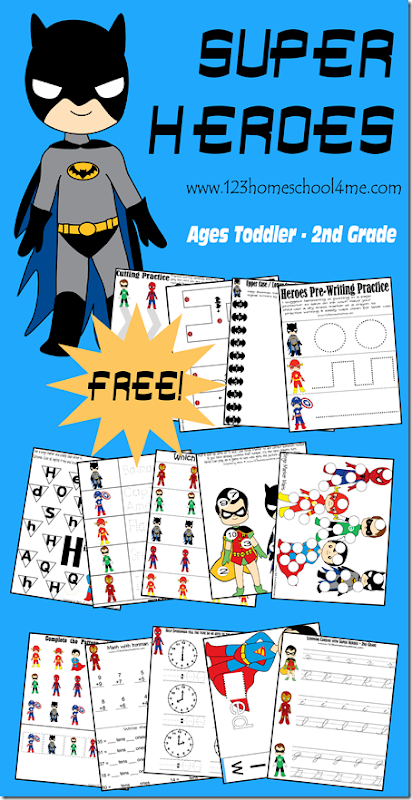 FREE Super Hero worksheets for Kids - these free printable Superhero themed pages are super cute to help toddler, preschool, prek, kindergarten, first grade, and second grade kids practice alphabet letters, clocks, counting, addition, word families, and so much more!