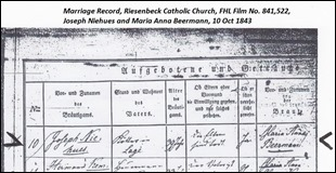 Niehues Beerman Marriage Record, Oct 10, 1843