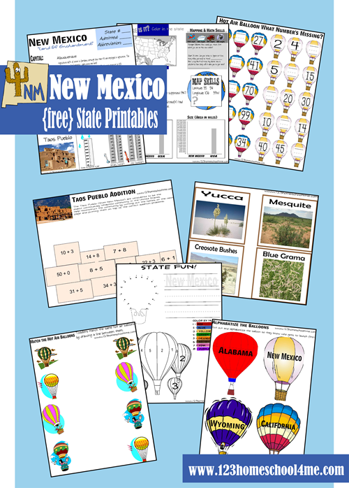 FREE New Mexico Worksheet for kids