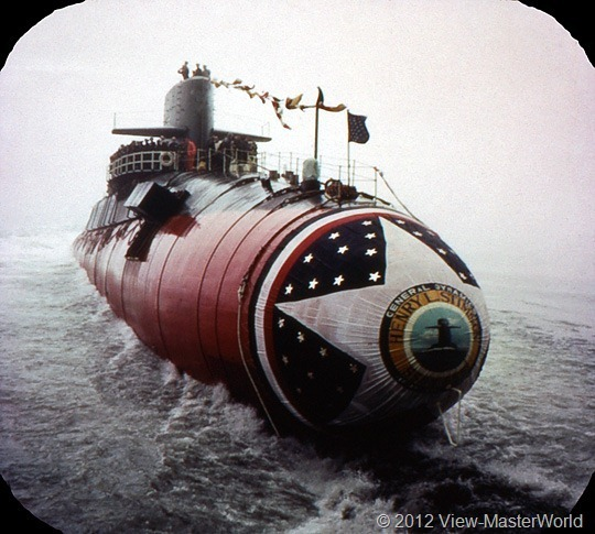 View-Master Connecticut (A750), Scene 20: Launching a nuclear sub at Groton Shipyard in New London