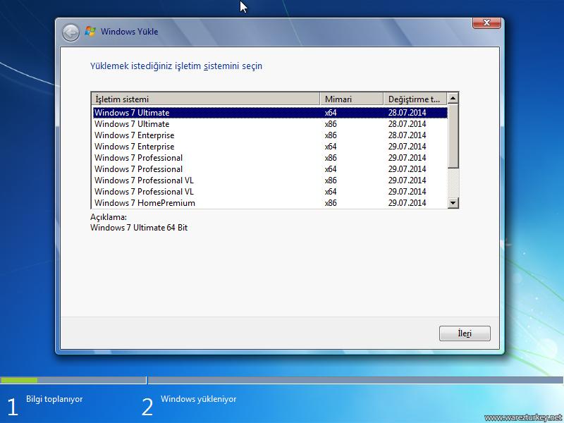 Windows 7 Sp1 Türkçe Tüm Sürümler Tek DVD - Ağustos 2014 ESD