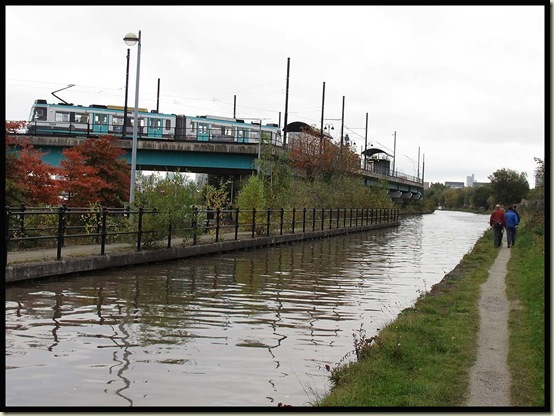 The Metrolink line to Eccles, at Cornbrook