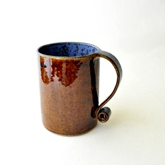 denim and leather latte mug by glazedOver Pottery 4