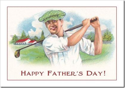 ilustración vintage, padre jugando al golf