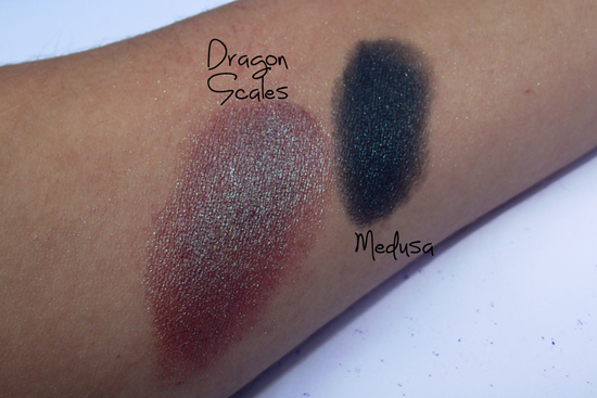 Swatches Lime Crime - Medusa e Dragon Scales