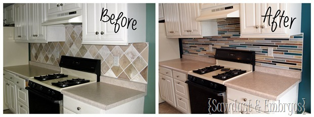 before after painted backsplash sawdust and embryos