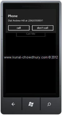 Screenshot 2 : How to Retrieve Phone Number from Contacts in WP7 using the PhoneNumberChooserTask?
