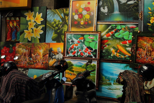Paintings shop by the street at Sukowati Market, Bali, Indonesia