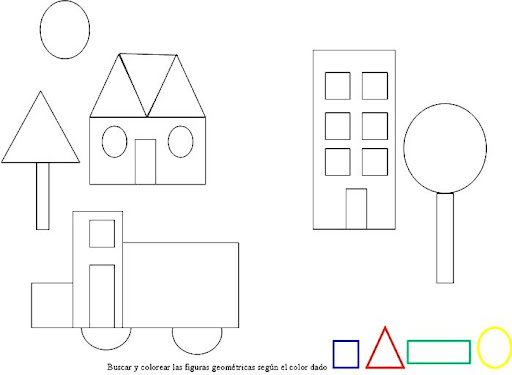 Dibujos Para Colorear De Paisajes Con Figuras Geometricas