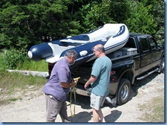 7216 Restoule Provincial Park - Peter and Bill launching Peter's inflatable rubber boat