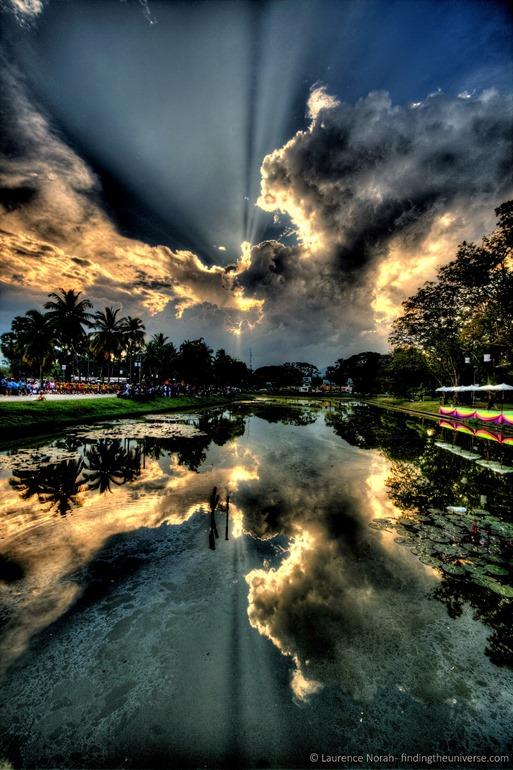 Sunset in Sukhothai clouds