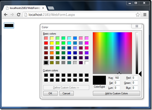 Color as textmode property in asp.net 4.5 textbox