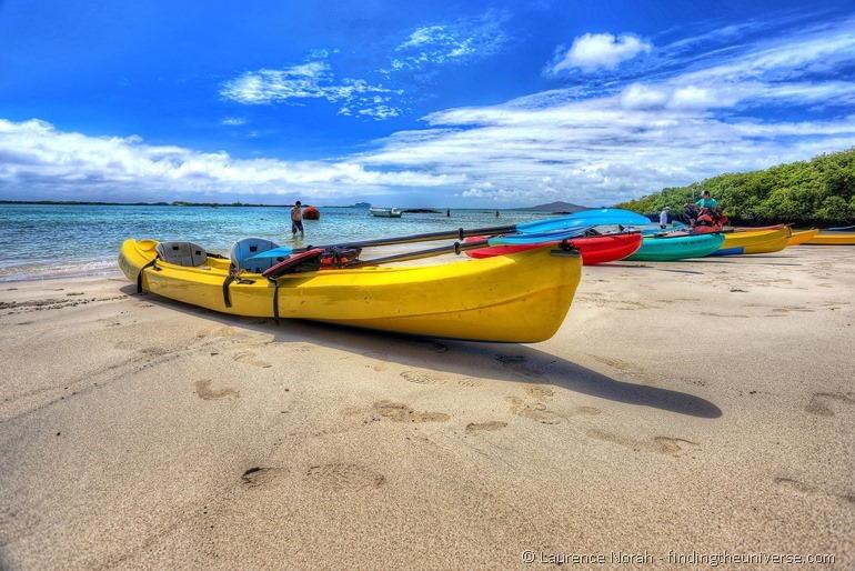 Canoe on beach Isabela island Galapagos Galakiwi adventure tour
