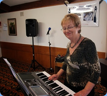 The Club's Events Manager, Diane Lyons, playing her new Korg Pa900. Photo courtesy of Dennis Lyons.