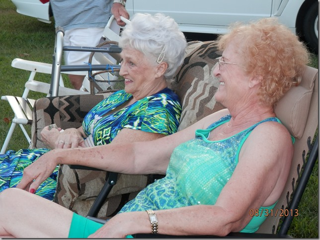 Aunt Dean and Aunt Rita enjoying the family gathering
