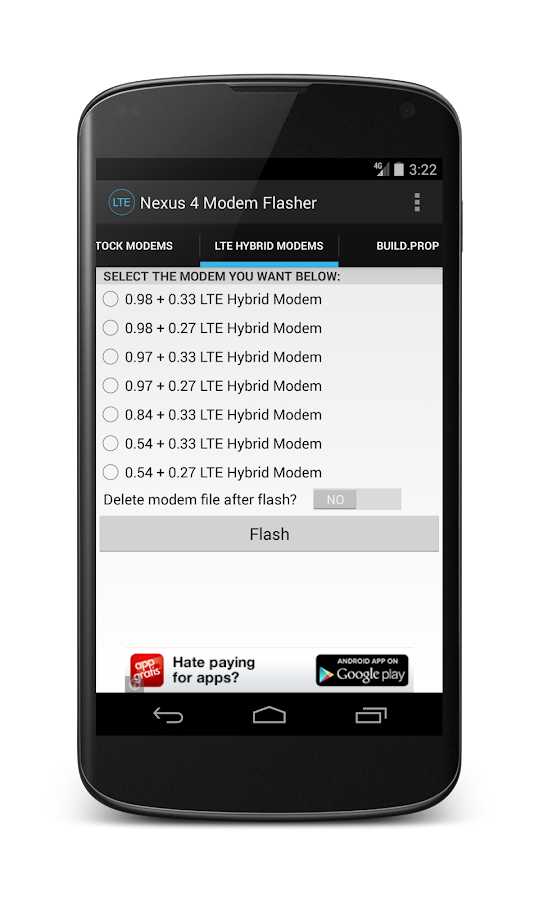 Nexus 4 LTE Modem Flasher - screenshot