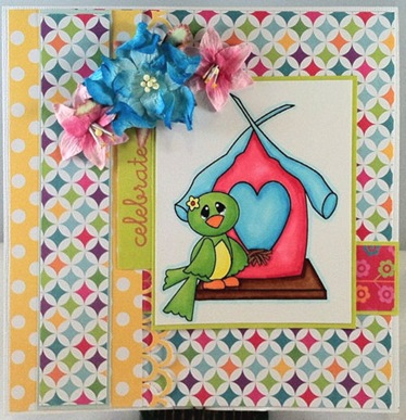 bird n birdhouse digital stamp mindy-500