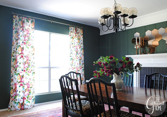 dining room updates floral curtains13