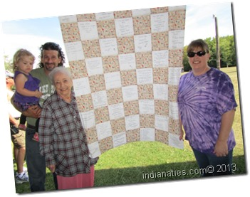 The Family Memories Quilt is a treasure from each reunion.