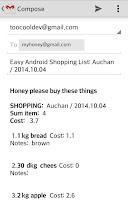 Screenshot of Easy Android Shopping List Pro