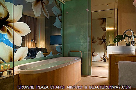 CROWNE PLAZA  CHANGI AIRPORT HOTELbDELUXE ROOM STAY SINGAPORE AZUR RESTAURANT BUFFET BRUNCH FOOD BAR 75 BATH TUB SWIMMING POOL