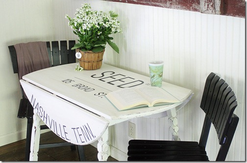 cotton sack table via The Shabby Creek Cottage