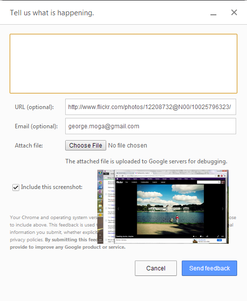 Googl Chrome 31 new feedback dialog