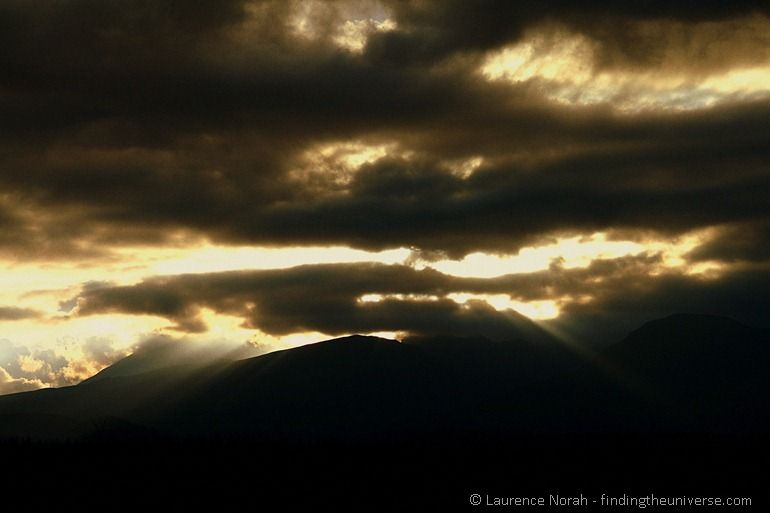 Crepuscular rays over Tongariro National Park