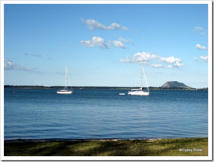 Tauranga harbour with Mt Maunganui in the background.