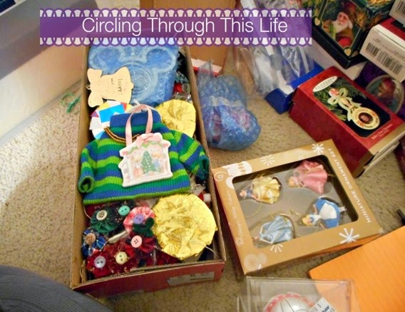 Boxing up the ornaments ~ Circling Through This Life ~ Christmas Decorations get organized!